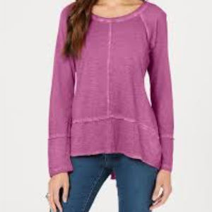 Style & Co Seamed High Low Vivid Violet Top